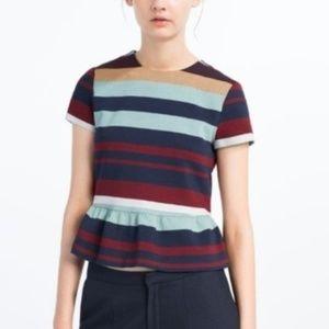 Zara colorful striped Peplum Top with zipper